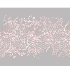 Lace seamless horizontal ribbon White with pink vector