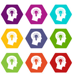 light bulb inside head icon set color hexahedron vector image