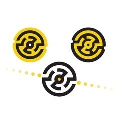 Logo symbols in circular maze vector