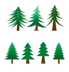 many style of christmas tree on white background vector image