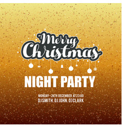 merry christmas night party glitter background vector image