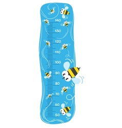 Meter wall or height meter with funny bees vector image