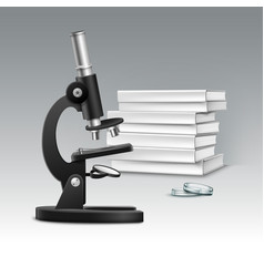 Microscope with books vector
