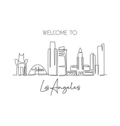one continuous line drawing los angeles city vector image