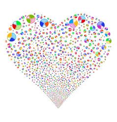 Pie chart fireworks heart vector