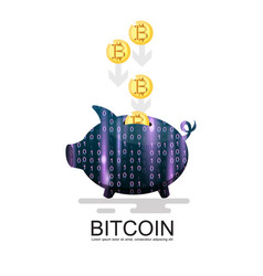 Piggy bank with lots of bitcoins isolated on vector