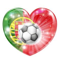 portugal soccer heart flag vector image