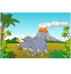 Prehistoric scene with triceratops cartoon and vol vector