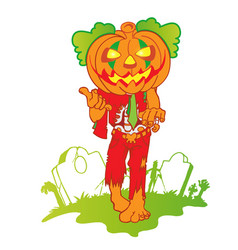 pumpkin zombie mascot cartoon isolated on white vector image