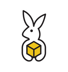 rabbit delivery logo vector image