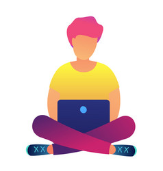 Red haired programmer with laptop in lotus pose vector