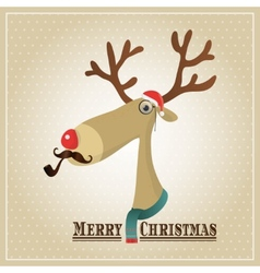 Reindeer Merry Christmas Card vector