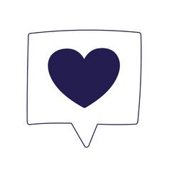 Romantic speech bubble love heart feeling message vector