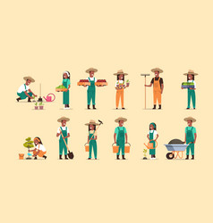 Set african american farmers holding different vector