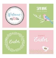 set hand drawn easter greeting cards vector image
