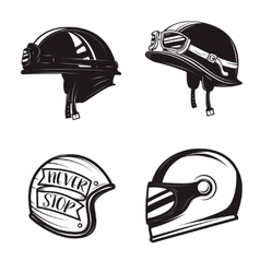 Set of different biker helmets isolated on white vector