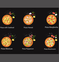 set of pizza with different ingredients flat vector image