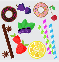 Set of sweets flat donut berries vector