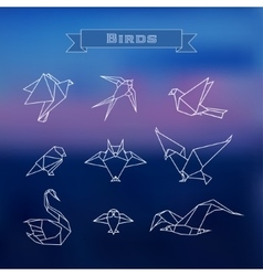 Set polygonal birds vector
