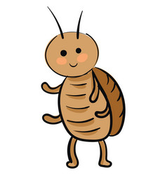 Smiling cockroach on white background vector
