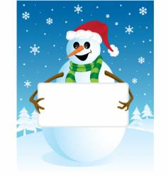 snowman with blank board vector image