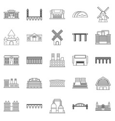 structure icons set outline style vector image