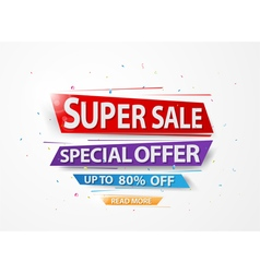 Super Sale and special offer with colorful paper a vector image