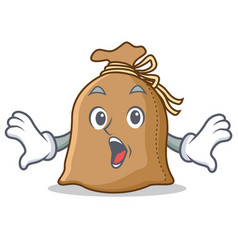 Surprised sack mascot cartoon style vector