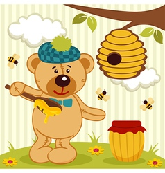 Teddy bear near beehive vector