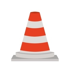 Traffic cone with lines orange and white vector