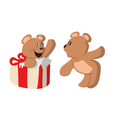two bears and gift wrap design vector image