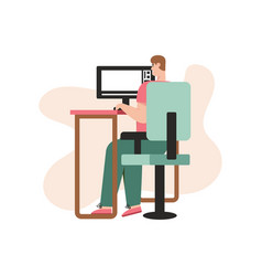 video editor works at computer sitting at table vector image