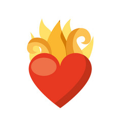 virgin mary heart with flames vector image