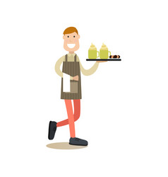 Waiter in flat style vector