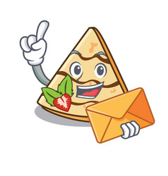With envelope crepe character cartoon style vector