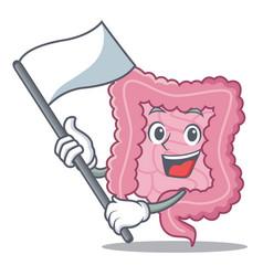 With flag intestine mascot cartoon style vector