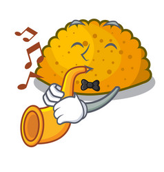 with trumpet fried patties isolated on the mascot vector image
