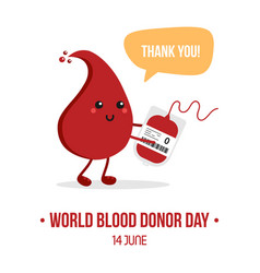 World blood donor day card with drop character vector