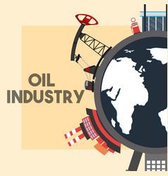 World pump jack refinery plant ship tanker oil vector