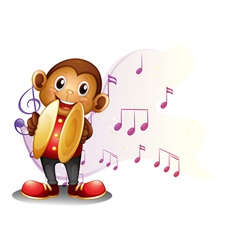 A monkey playing with the cymbals vector image