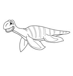 Black and white plesiosaur vector image