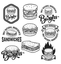 Burgers and sandwiches handwritten lettering logo vector