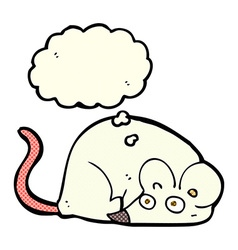 cartoon white mouse with thought bubble vector image vector image