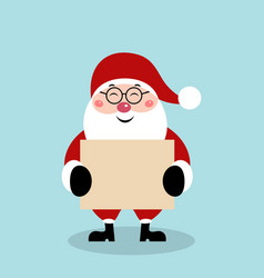 christmas santa claus with blank sheet of paper vector image
