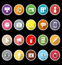 Electronic icons with long shadow vector image vector image