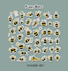funny bee sticker set for your design vector image vector image