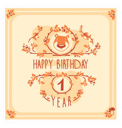 happy birthday greeting card with cute bear vector image