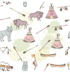 seamless pattern with american indian elements vector image