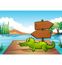 A crocodile near the pond vector image vector image