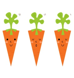 Beautiful cartoon Carrots set isolated on white vector image